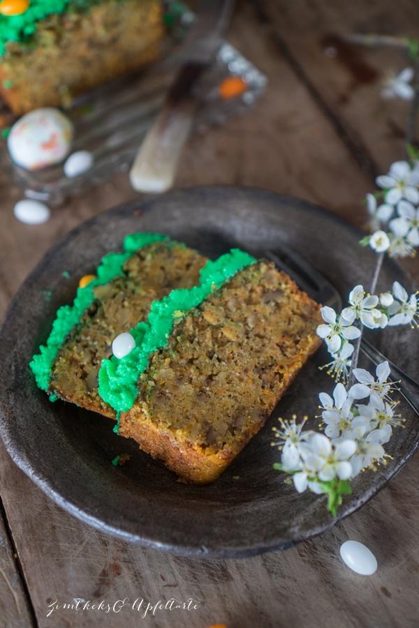 Leckeres Rezept für saftiger Rüblikuchen - Carrot-Cake - mit Mascarpone-Topping