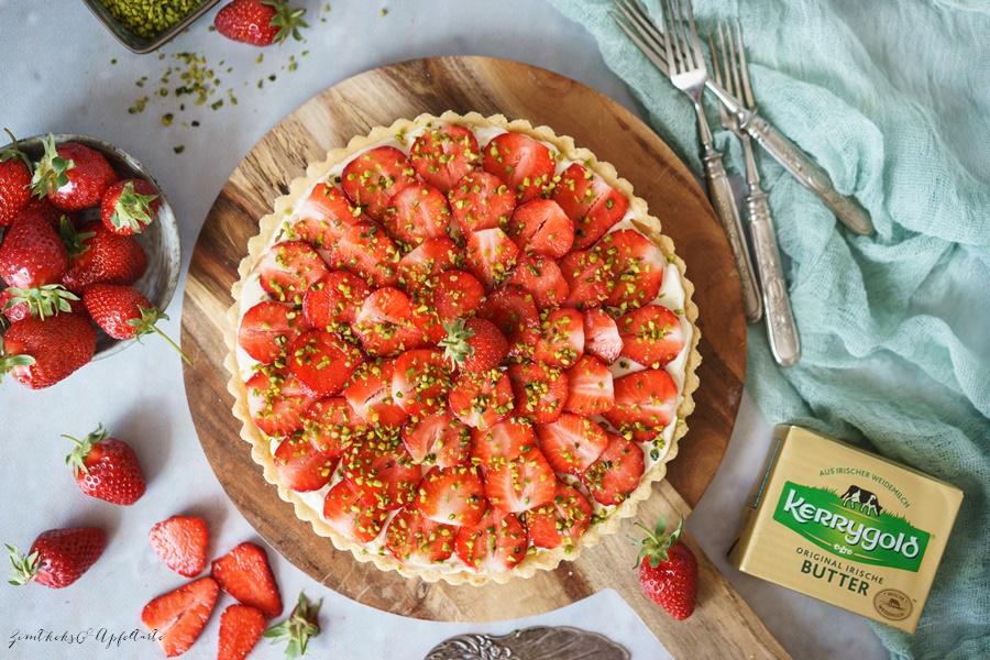 einfaches Rezept für eine fruchtige Erdbeertarte mit Mascarpone-Lemon-Curd-Creme