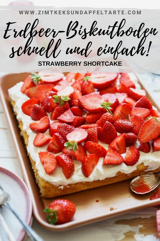 Ganz einfach und super schnell selber gebacken: Biskuitboden mit Sahne und frischen Erdbeeren, dazu eine leckere Erdbeersauce. Mehr braucht man im Frühling oder Frühsommer nicht auf dem Kuchentisch. Ganz einfaches und gelingsicheres Rezept für einen fluffigen Biskuit! Klassischer Erdbeer Biskuitboden mit Sahne