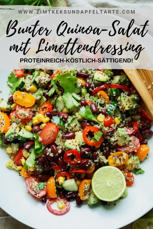 Bunter Quinoasalat mit Limettendressing - ganz einfaches und blitzschnelles Rezept für einen sehr leckeren und dabei gesunden und proteinreichen Salat, der als Grillbeilage oder auch als vegetarische Hauptspeise im Sommer super gut funktioniert. Ganz fix auf dem Tisch